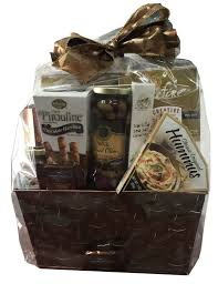 houdini gift baskets houdini candy crackers cookies olives grey metal