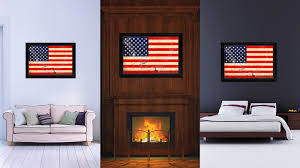 usa 50 vintage american flag canvas print with black picture frame