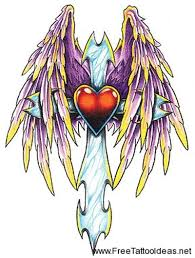 cross heart with wings tattoo design tattoos book