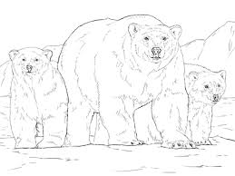 polar bear color page polar bear with two cubs coloring page free printable coloring pages