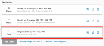 how to change the date and time of an individual event in an event