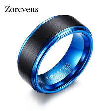 blue rings jewelry images Zorcvens blue tungsten rings for men jewelry classical men black jpg