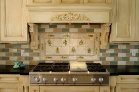 kitchen design stove backsplash in ceramic with classic hood