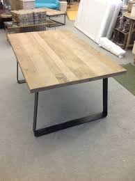 designer brand industrial style reclaimed timber top dining table