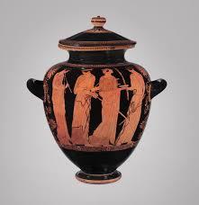 Greek Black Figure Vase Painting Terracotta Stamnos Jar Attributed To The Menelaos Painter