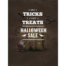halloween sale poster design in background hunted house on grunge
