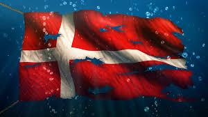 denmark under water sea torn flag loop animation 4k resolution