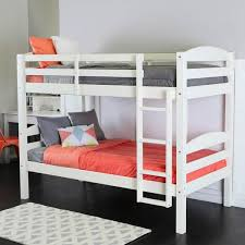 Twin Over Twin Solid Wood White Bunk Bed Free Shipping Today - Twin over twin bunk beds