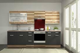 einbauk che billig küche lina 280 cm küchenzeile in schwarz baltimore walnuss