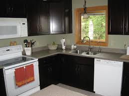 White Kitchen Cabinets White Appliances by Small L Shaped Kitchen Like Yours With Dark Cabinets And White