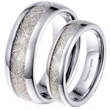 meteorite wedding band his and hers matching tungsten meteorite wedding rings set