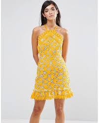 halter neck lyst aijek marianna halter dress in yellow save 32