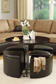 round coffee table with 4 stools appealing round coffee table with storage ottomans coffee table