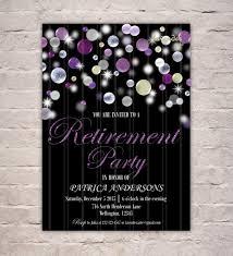 silver purple glitter retirement party invitation diy