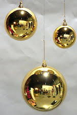 2 large 12 gold balls outdoor plastic ornaments
