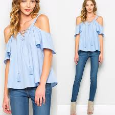 baby blue blouse baby blue cold shoulder ruffle sleeve tie up top from styleid s