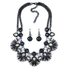 black gem necklace images Wholesale gun black gem flower double layer statement earrings jpg