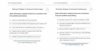 present simple and present continuous jumbled sentences worksheet