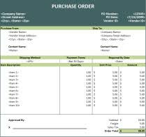 Free Purchase Order Template Excel Purchase Order Template Spreadsheet
