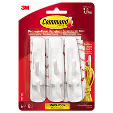 Picture Hangers Without Nails by Command Hooks Value Pack White Medium 6 Hooks 12 Strips Pack