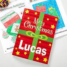 christmas personalized personalized christmas coloring book crayon set