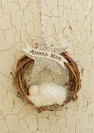 ornament adore him banner baby jesus glass glitter