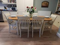 shabby chic ducal pine extending dining table u0026 6 chairs