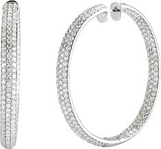 gold diamond hoop earrings 14k white gold pave diamond hoop earrings 14 48cts 150 2729