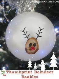 thumb print reindeer baubles