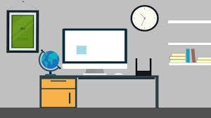 office desk flat animation youtube