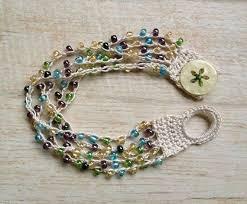 crochet bracelet with beads images Crochet beaded bracelet beach jewelry boho gypsy hippie glass jpg