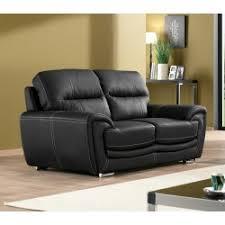 canapé 2 places simili cuir canapé fixe 2 places en simili cuir noir avec têtières relevables e