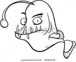 free cartoon angler fish vector coloring book download free