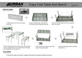folding table with bench urban escape folding table and benc