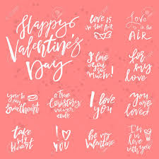 wedding slogans set of valentines day handwritten quotes and slogans
