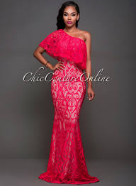 chic couture online robea coral lace one shoulder maxi dress