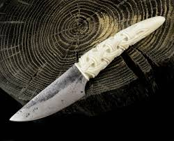 jokul hand forged knife carved antler viking vikings norse