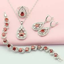 red necklace earring set images Garnet red white artifical stone silver plated bridal jewelry sets jpg