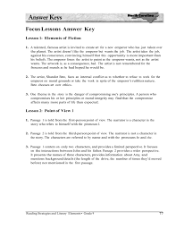 focus lessons answer key lesson 1 elements of fiction 1 a