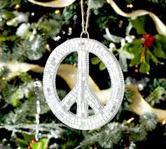 mosaic peace sign ornament pottery barn