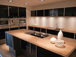 black kitchen cabinets installed for amusing small penthouse superb design of the kitchen countertop materials with young brown wooden color materials added with black