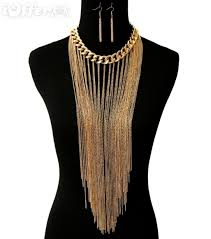 multi chain necklace images Long gold multi chain fringe tassel layer necklace for sale jpg