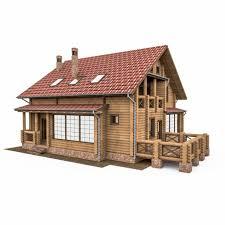 round bar wooden house 3d model cgstudio