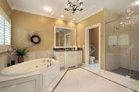 large master bath with tub and glass shower stock photo picture large master bath with tub and glass shower stock photo 6732760