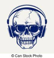 vector illustration of skull with headphone two black and white