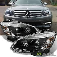 mercedes aftermarket headlights blk 2008 2011 mercedes w204 c class led drl projector