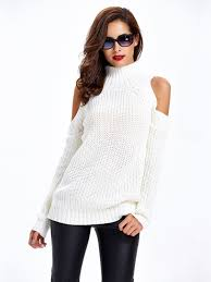 high sweaters white high neck cold shoulder ribbed knit sweater rib knit cold