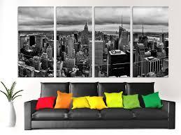 4 piece split b u0026w new york city skyline canvas print of