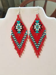 Red Turquoise Rug Beautiful Native American Style Beaded Rug Earrings In Black