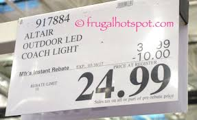 altair outdoor led coach light costco costco sale altair lighting outdoor energy saving led lantern